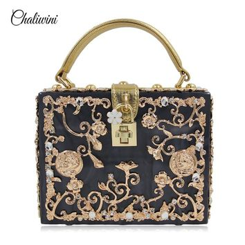 Luxury Box shape Tote Women Handbag Brand Acrylic/ PU Relief Black Evening Clutch Bag Ladies Prom Party Purse Shoulder Bag