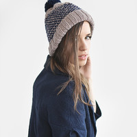 Fair isle two colored ski beanie hat with pom pom / Hand Knitted