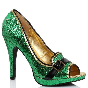 Women's 4 Inch Heel Green Glitter Peep-Toe Pump (7,Green Glitter)