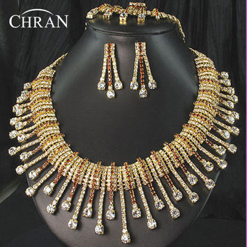 CHRAN Sparkling Austrian Crystal Costume Bridal Jewelry Women Accessories Fashion Gold Color Rhinestone Wedding Jewelry Set