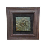 1960s Metal Sun Art Piece, Vintage Framed Sunshine Wall Hanging, Mid Century Home Decor, MCM Retro Style