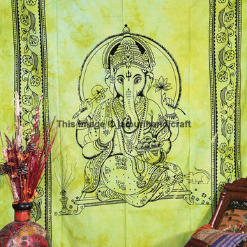 Lord Ganesha Wall Tapestry,  Green Art Decor Table Runner, Home Décor Lord Ganesha Print Tapestry, Twin Size Bed Sheet, Bohemian Wall Decor
