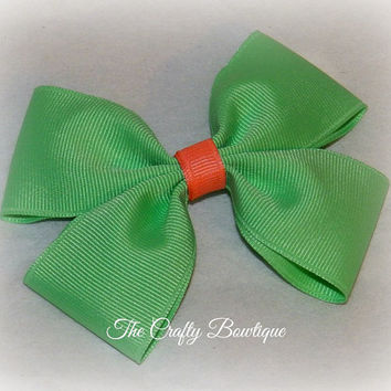 Mint Green Boutique Hair Bow, Mint Green & Coral, Easter Hair Bow, Spring Hair Bow, Bow for Headbands, Pony Tail Bow, 4 inch Bow, Pastel Bow