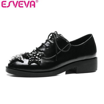ESVEVA 2017 Star Rhinestone Square Low Heel Woman Pumps British Style Spring Autumn Shoes Women Lace Up Fashion Shoes Size 34-43