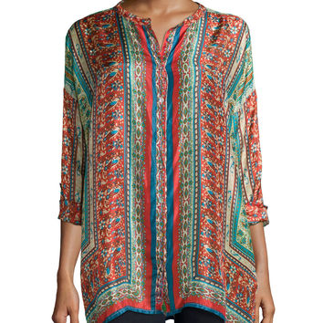 Sari Button-Front Printed Silk Tunic, Size:
