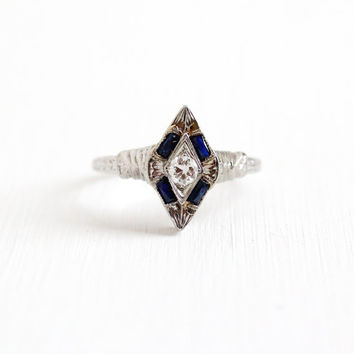 Antique 20K White Gold Sapphire & .15 Carat Diamond Filigree Shield Ring - Art Deco 1920s 1930s Engagement Blue Gemstone Fine Jewelry