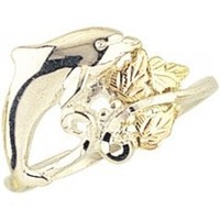 Beautiful! Authentic High Polish Black Hills Gold/Sterling-silver Women's Dolphin Ring