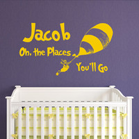 Dr Seuss Quotes Wall Decal Oh The Places You'll Go, Dr Seuss Nursery Personalized Name Wall Decal Kids Baby Boys Girls Bedroom Decor Q266