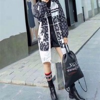 """Louis Vutitton"" Women Fashion Multicolor Logo Letter Print Loose Long Sleeve Cardigan Hooded Windbreaker Coat"