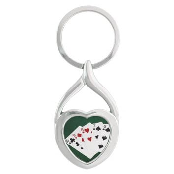 Poker Hands - Straight - Ten To Six Silver-Colored Heart-Shaped Metal Keychain