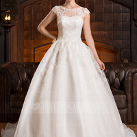 [£ 189.00] A-Line/Princess Scoop Neck Chapel Train Organza Wedding Dress With Appliques Lace (002056428)