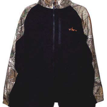 Habit Realtree Xtra Green Camo Mens Fleece Jacket Large Black Drawstring Lock