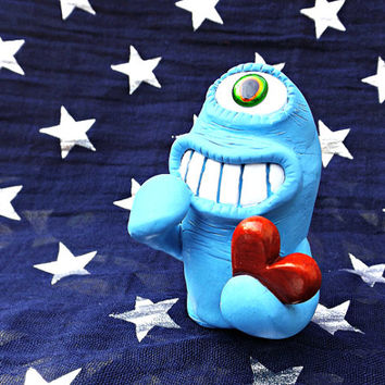 Vladmir Valentine - Blue Geek Monster with Love Heart