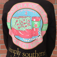 "Simply Southern ""State of Mind"" Longsleeve Tee - Black"