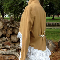 Romantic shabby upcycled altered couture lagenlook bustle wool blazer, M