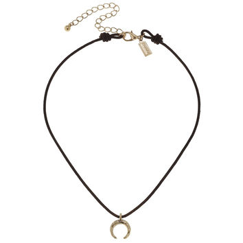 Canvas Double Horn Leather Choker
