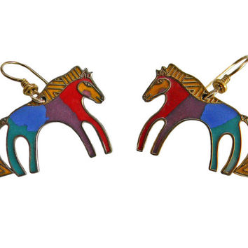 Laurel Burch Caballo Horse Pierced Earrings Cloisonné Rainbow Colors