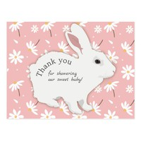 Rose Pink Daisies Bunny Baby Shower Thank You Postcard