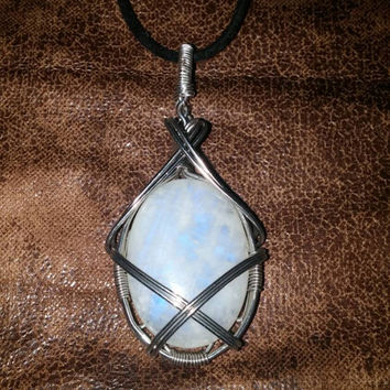 Wire Wrapped Oval Moonstone Pendant Lantern Inspired