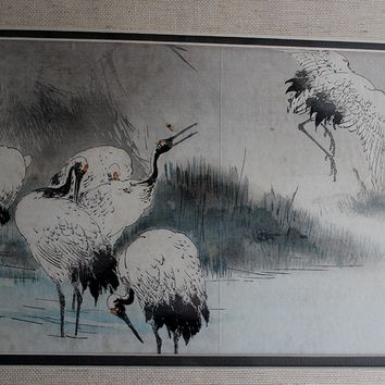 Original Antique Oriental Watercolor Paintings Framed under Glass