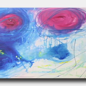 Abstract art canvas painting blue pink yellow 150cm x 50cm