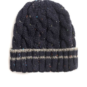 SUPER SALE! Mens Cable Knit Chunky Winter Hat Knit Unisex Beanie Hand Knit Navy Blue Hat Christmas Gift For Him