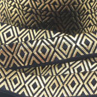 Black & gold diamonds metallic fold over elastic, 5/8 Printed FOE headband elastic,  Foldover elastic by the yard, Foil FOE