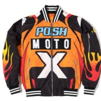 Posh Moto Racking Bomber Jacket in Orange / Black