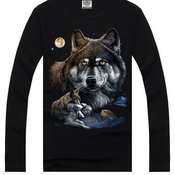 Black 3D Wolf Print Long Sleeve Graphic T-Shirt