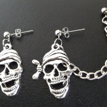 Gothic Pirate skull face cartilage earrings or ear cuff earrings (pair)