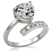 Clear Cubic Zirconia Stainless Steel Ring #9