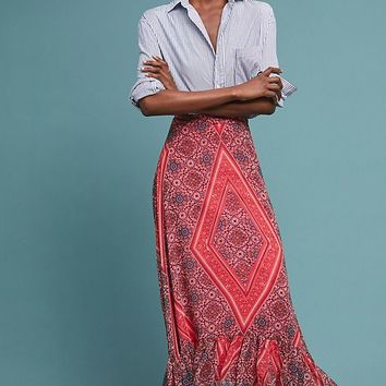Scarf-Printed Maxi Skirt