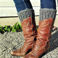 Gray Knit Boot Cuff -  knit boot topper faux legwarmers sock tops with metal buttons- leg warmers boot warmers