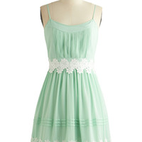 ModCloth Mid-length Spaghetti Straps A-line Life is But a Gleam Dress in Mint