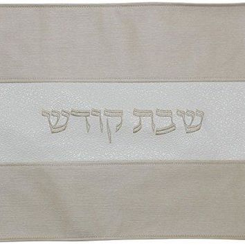 Ben and Jonah Challah Cover Vinyl-Gold/Ivory Faux Croc Skin Center Banner