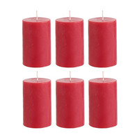 "Mega Candles - Unscented 2"" x 3"" Hand Poured Round Premium Pillar Candle - Red, Set of 6"