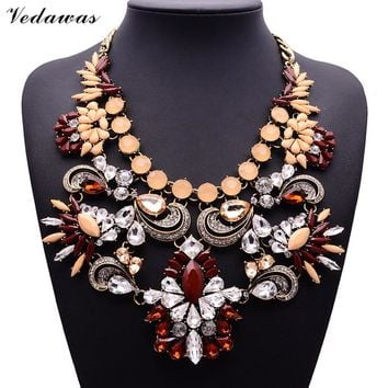XG284 2017 New Design Vintage Necklaces & Pendants Multi-color Crystal Statement Necklace Crystal Flower Pendant Pearls Jewelry