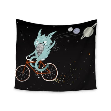 "Anya Volk ""Bunny In Space"" Red Fantasy Wall Tapestry"