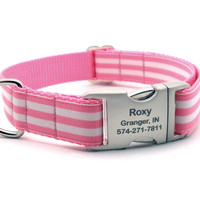 Cabana Stripe Dog Collar With Personalized Buckle - Pink