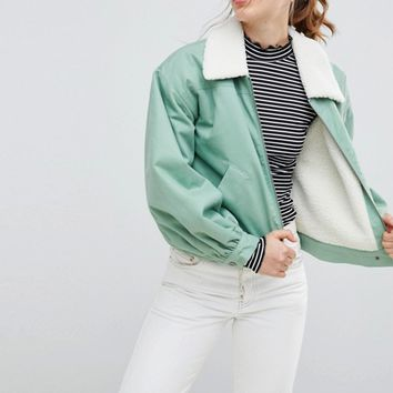 ASOS Utility Jacket with Fleece Collar at asos.com