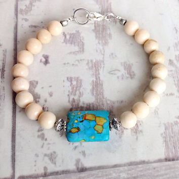 Natural stone bead bracelet, gemstone jewelry, turquoise bead, beaded bracelet
