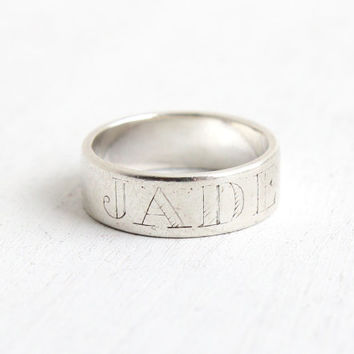 Vintage Sterling Silver Jade Name Ring - Retro Dated 4-15-87 Size 7 Monogrammed Cigar Band Jewelry