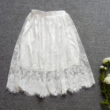 Skirt New  Cute Full Lace Embroidery Tulle Skirt Mini Skirts Fashion Woman translucence Skirts Pleated Skirt 72421 GS