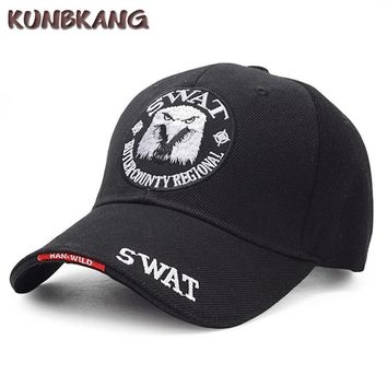 Trendy Winter Jacket New Brand Men Eagle SWAT Tactical Baseball Cap Army Snapback Hat Cotton Bone Adjustable Male Outdoor US Navy Snapback Cap Gorras AT_92_12