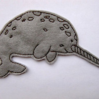 Narwhal Patch Applique Iron on Version