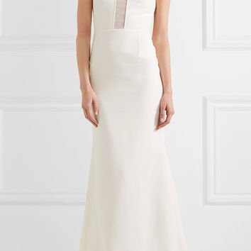 Roland Mouret - Harela open-knit paneled crepe gown