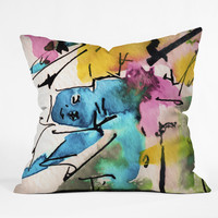 Ginette Fine Art Blue Man Abstract Expressive Outdoor Throw Pillow