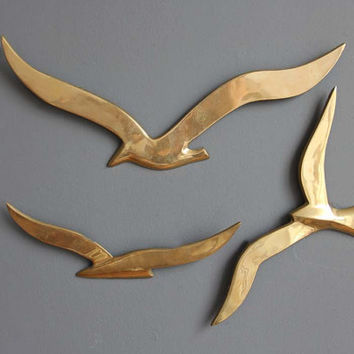 $56.00 Flock of Modern Brass Birds Wall Hanging by GallivantingGirls