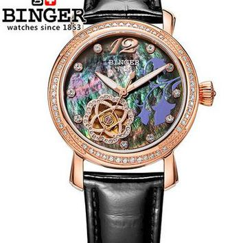 Fashion Brand Binger Auto Watch Women Relogios Femininos Geneva Leather Band Analog 2017 Trending Wrist Watch Womens Watches