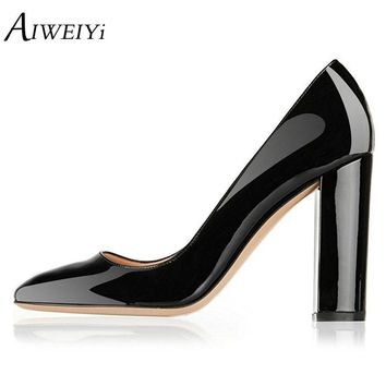AIWEIYi Women's High Heels PU Patent Leather Slip On Pumps Shoes Summer Style Shoes Woman Pumps Black Ladies Wedding Party Shoes